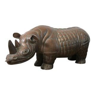 Vintage Solid Copper Rhino Statue For Sale