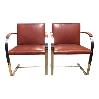1960s Mid-Century Modern Mies Van Der Rohe for Knoll Brno Dining Chairs - a Pair
