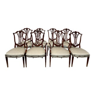 Solid Mahogany Hepplewhite Chairs- Set of 8 For Sale