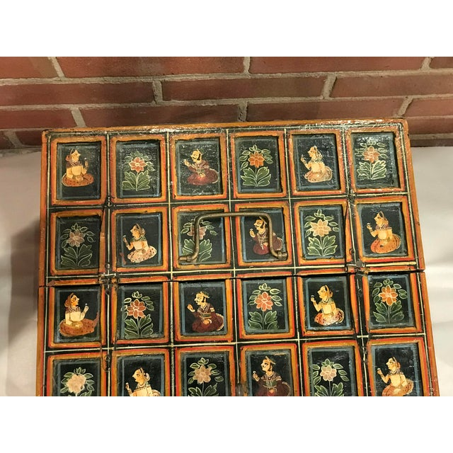 Vintage Folk Art Indian Hand Painted Box For Sale - Image 9 of 10