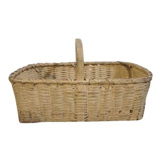 19th Century Original Buttermilk Painted Basket For Sale