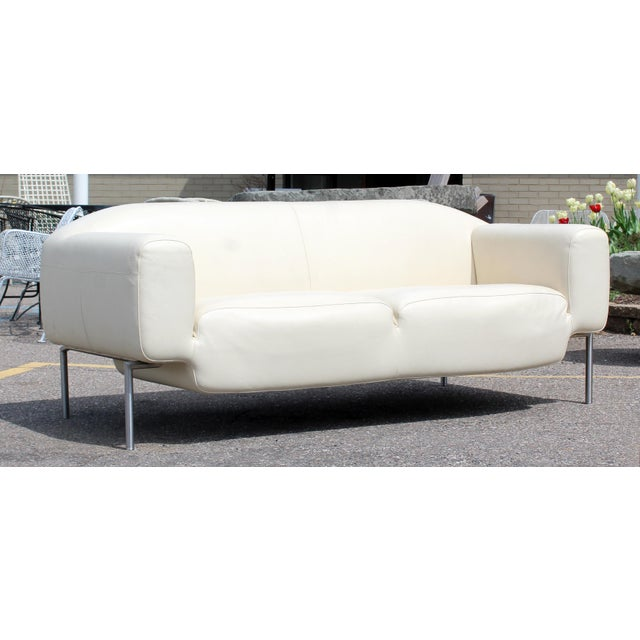 Lovely Contemporary Modern White Leather Sofa on Steel Frame B&b ...