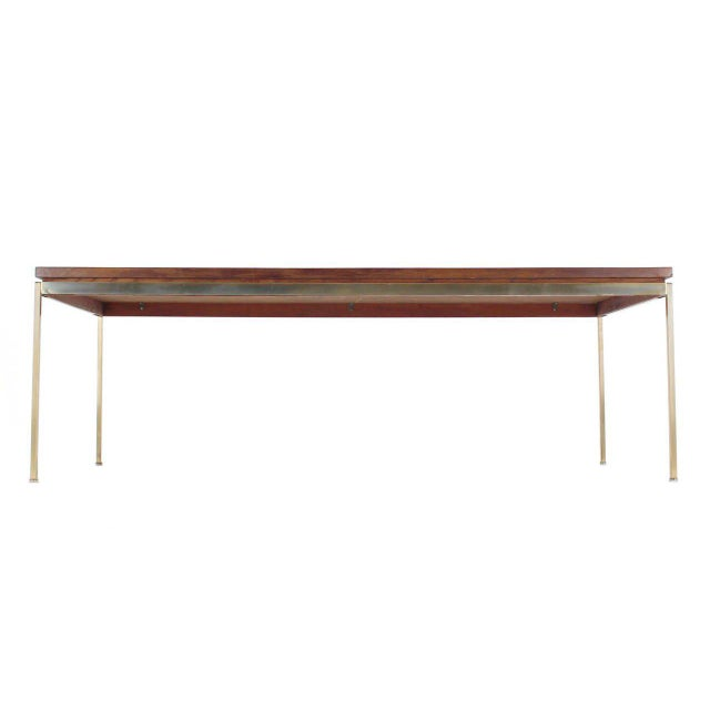 Early 20th Century Large Brass Rectangle Base Parquet Top Coffee Table For Sale - Image 5 of 6