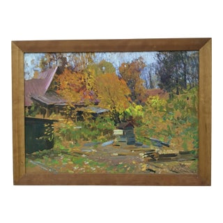 "1998 ""Moscow, Village Sokol"" Oil Painting on Board by Piotr Ivanovich Kostinski For Sale"