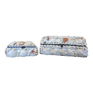 A Pair- Coastal Seashell Encrusted Decorative Boxes For Sale