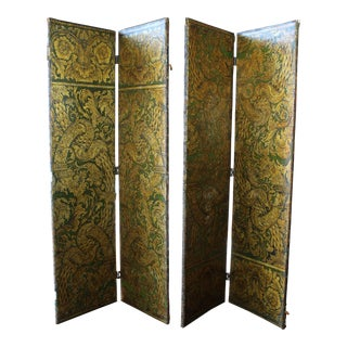 Antique Four Panel Green Gilded Leather Screen