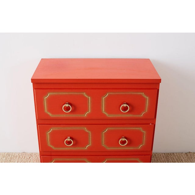 Hollywood Regency Dorothy Draper Style Coral Red Commode or Chest For Sale - Image 3 of 13