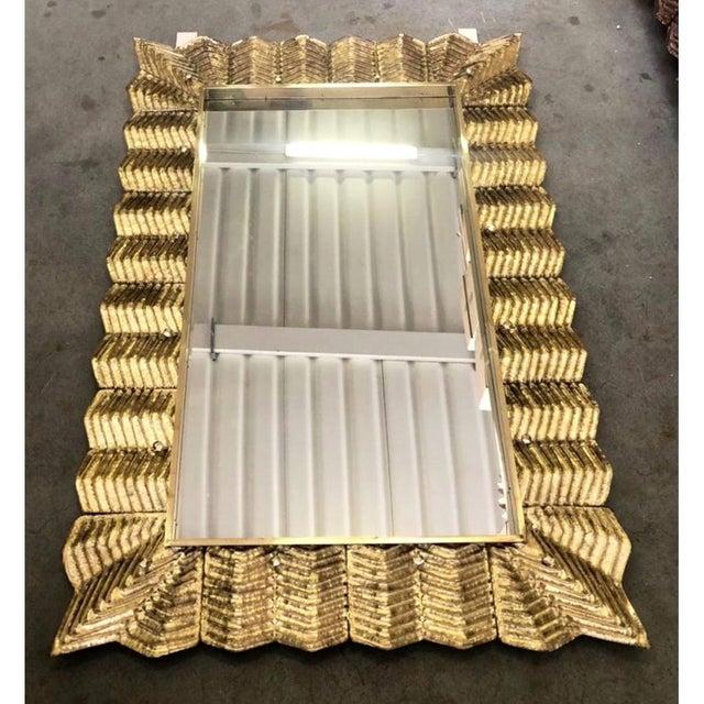 Bespoke Italian Art Deco Design Ruffled Silver Pink Murano Glass Brass Mirror For Sale In New York - Image 6 of 9