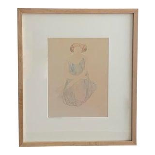 1960s Framed Watercolor Portrait: Sitting Girl For Sale