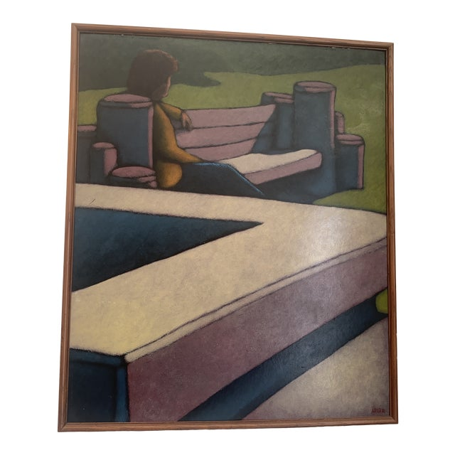 "1970s ""Figure Seated on a Park Bench"" Oil Painting, Framed For Sale"