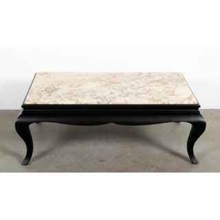 Vintage Black Lacquer Ebonized Mahogany & Marble Coffee Table Preview