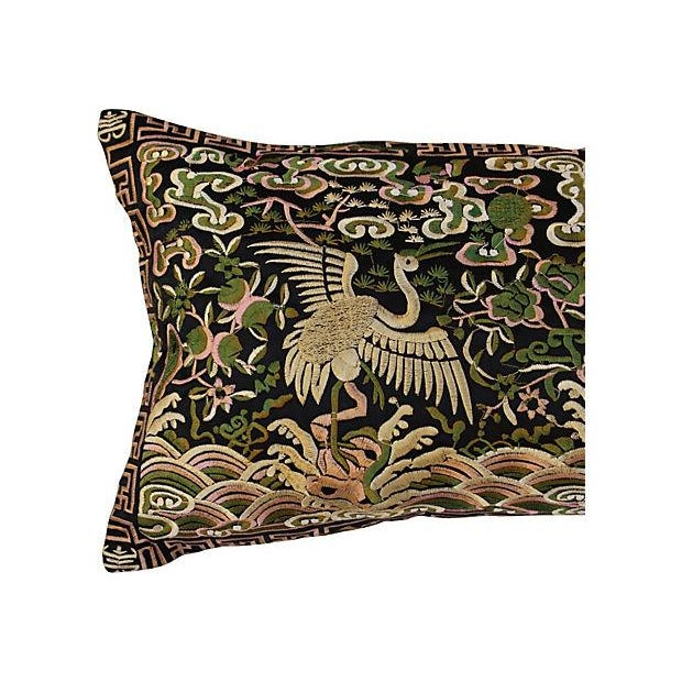 Gold Metallic Silk Crane Boudoir Pillow - Image 3 of 6