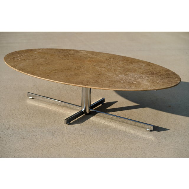 Copper 1960s Knoll Style Marble Elliptical Oval Coffee Table For Sale - Image 8 of 8