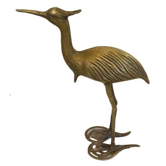 Vintage Brass Crane Bird Figure - Image 2 of 2