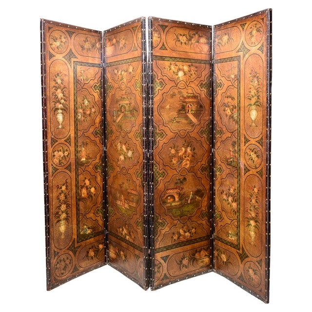19th Century Painted Leather Screen For Sale In West Palm - Image 6 of 6