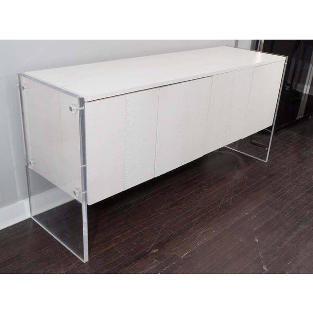 Modern White Python Sideboard with Lucite Side Panels For Sale - Image 3 of 7