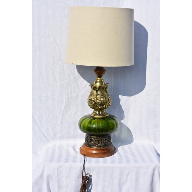 Hollywood Regency Mode Green Murano Glass Lamp For Sale In Palm Springs - Image 6 of 10