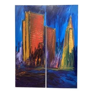 Warren Knapp Original Oil Painting Diptych of San Francisco's Financial District For Sale