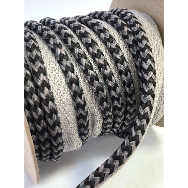 "Braided 1/4"" Indoor/Outdoor Cord in Charcoal & Gray For Sale - Image 4 of 10"