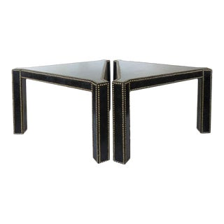 20th Century Regency Style Lacquered Parchment and Studs Side Tables - A Pair For Sale