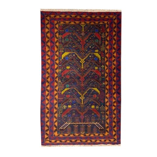 """Tree of Life Pattern Traditional Tribal Style Baluchi Handmade Rug - 3'7"""" X 6'8"""" For Sale"""