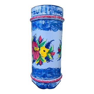 Majolica Umbrella Holder Crock From Portugal For Sale