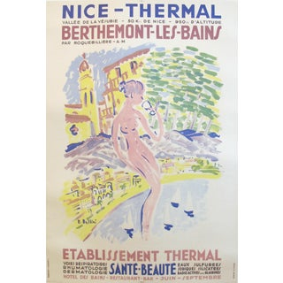 1950 Vintage French Travel Poster, Nice-Thermal Berthemont Les Bains For Sale