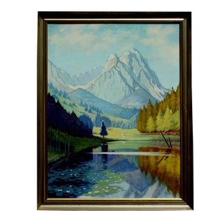 """1940s """"Riessersee Lake Bavaria"""" Landscape Oil Painting, Framed For Sale"""