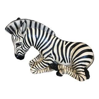 Mid-Century Signed Zebra Statue