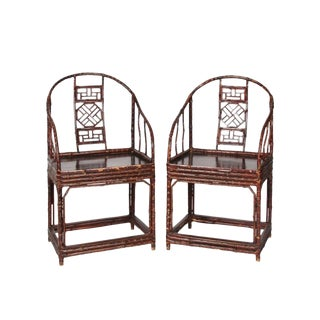 Late 20th Century Modern Chinese Bamboo Arm Chairs- A Pair For Sale
