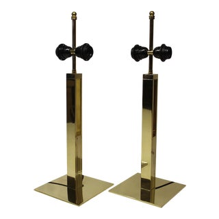 Modern Brass Table Lamps - a Pair For Sale