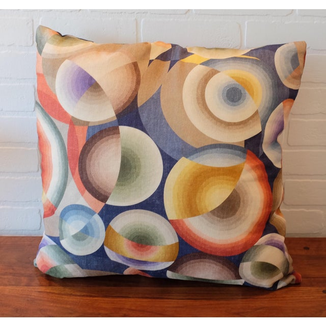 Abstract Pierre Frey Sonia Delaunay Print Linen Pillow Covers - a Pair For Sale - Image 3 of 3