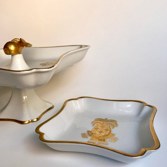 Georges Briard Mid-Century Georges Briard Pineapple & Pear Pedestal Bowl and Matching Dish - a Pair For Sale - Image 4 of 9