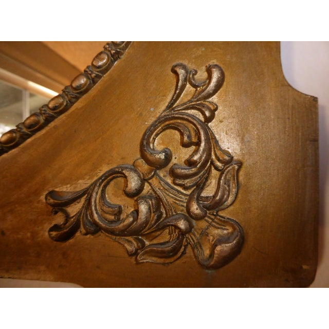 Antique Victorian Style Gold Gilt Floral Carved Wood Wall Mirror For Sale - Image 11 of 11