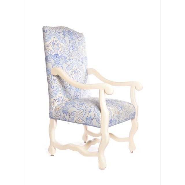 Early 21st Century Early 21st Century Louis XIII Style Upholstered Arm Chairs- A Pair For Sale - Image 5 of 9