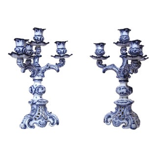 19th Century French Blue & White Delft Style Candelabras - A Pair For Sale