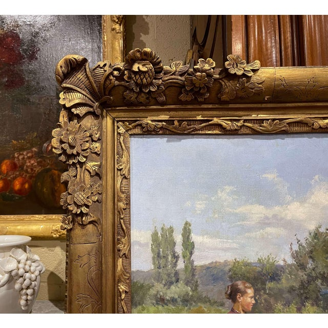Gold 19th Century French Oil on Canvas Cow Painting in Carved Frame Signed Gregoire For Sale - Image 8 of 13