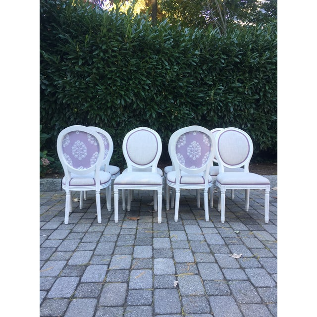 Modern Custom-Upholstered Louis-Style Round Dining Side Chairs- Set of 8 For Sale - Image 11 of 11
