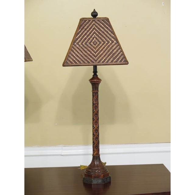 Item: Pair Carved Oak Lamps w. Bronze Bases & Leather Shade Age: New Floor Model Details: High Quality Construction...