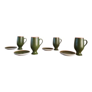 Lagardo Tackett Mid-Century Modern Demitasse / Espresso Cup and Saucer Set, Signed - 8 Pieces For Sale