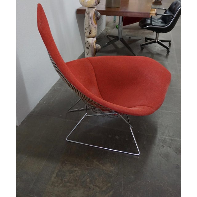 Bertoia Assymetric Red Upholstered Lounge Chair for Knoll For Sale In Palm Springs - Image 6 of 8