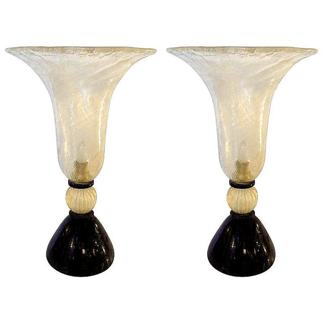 Black Venini mid-century modern gold & black Murano glass Urn lamps - a pair For Sale - Image 8 of 8