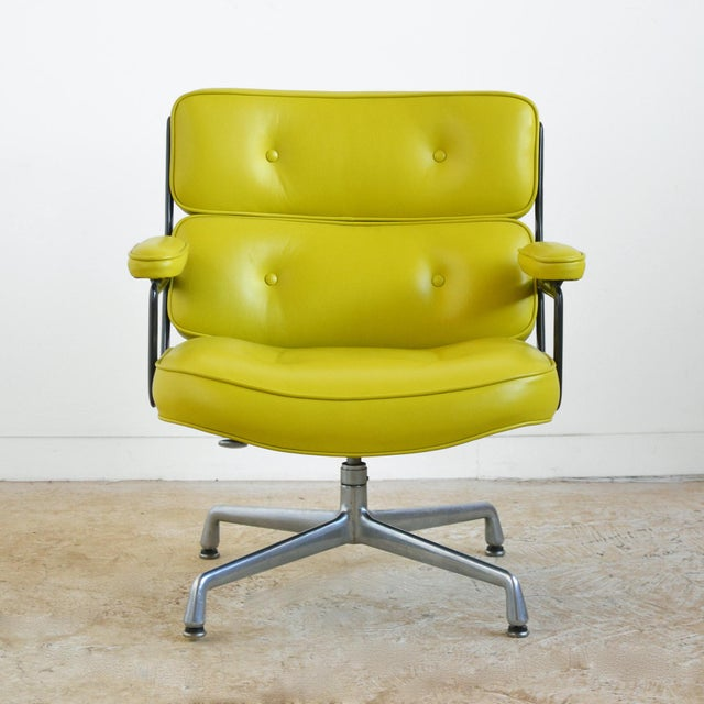 Mid-Century Modern Eames Time-Life Chair with Green Leather by Herman Miller For Sale - Image 3 of 10