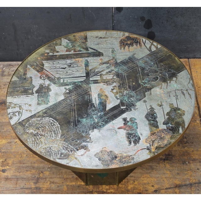 This table was created in their first NYC studio on East 57th Street. Etched and Raised Signature to top: [Philip Kelvin...