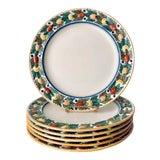 Image of Wm.Adams 'Titian Ware'-Della Robbia Dinner Plates-Set 6 For Sale