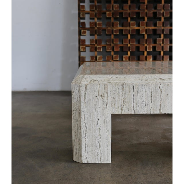 Modernist Travertine Coffee Table Circa 1980 For Sale - Image 9 of 10