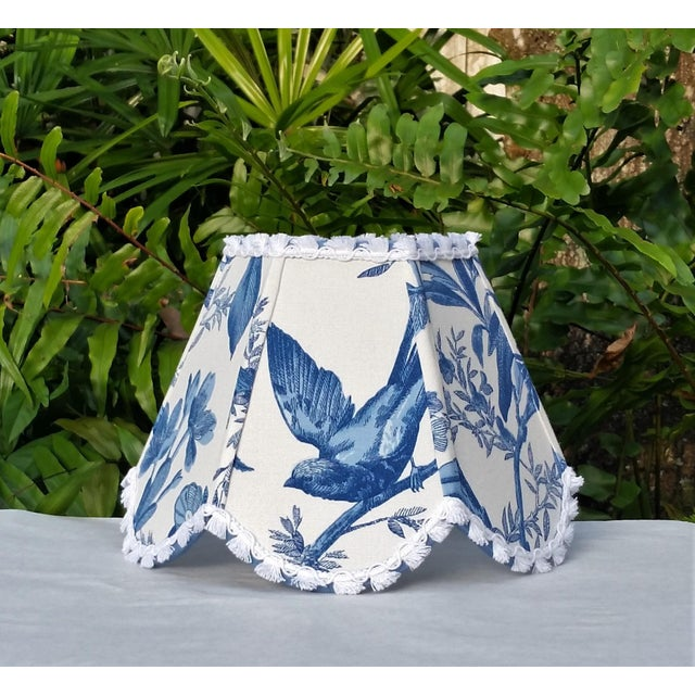 Blue Blue White Toile Floral Clip On Lamp Shade For Sale - Image 8 of 11