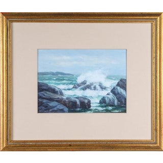 Vintage Mid-Century Francis Dixon Coastal Scene Oil on Board Painting For Sale