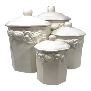 Late 20th Century Pottery Capodimonte Style Kitchen Canisters - Set of 4 For Sale