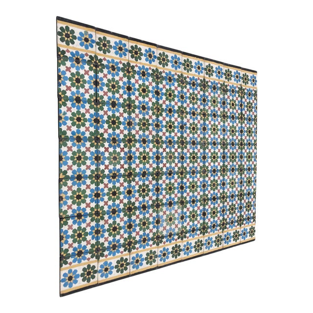 1990s Moroccan Hand-Crafted encaustic Cement Tile with Traditional Fez Moorish Design - Set of 56 For Sale